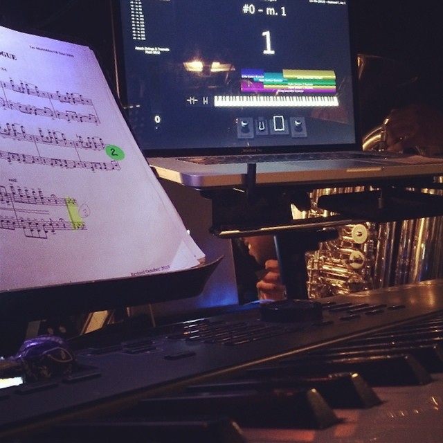 My keyboard setup for Les Miserables at Grosse Pointe Theater - Complete with Tootsie Roll Pops!