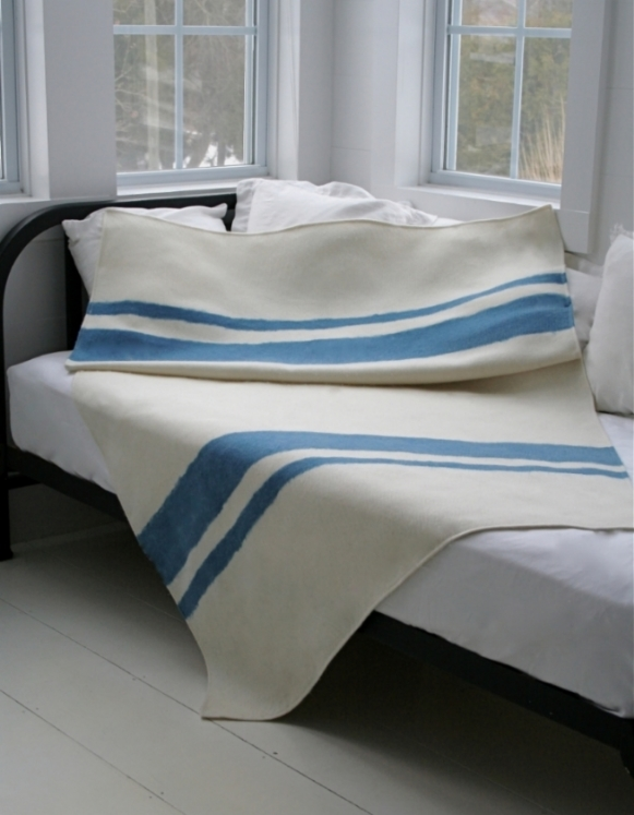 Our Large American Cashmere Throw in Natural White and Natural Indigo Dyed Stripes
