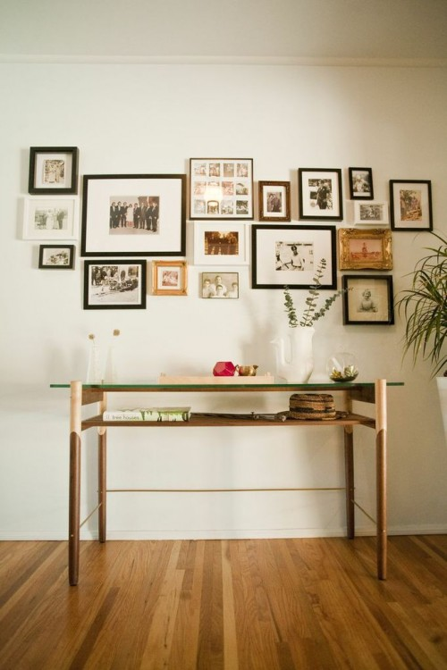 FRAMEWORK COLLECTION CONSOLE STYLED IN OUR HOME UNDER OUR ANCESTRY WALL!