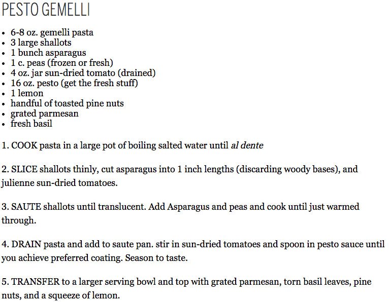 Chris Earl - Pesto Gemelli recipe