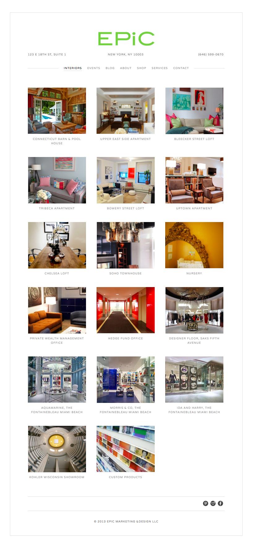 Interiors Portfolio Page