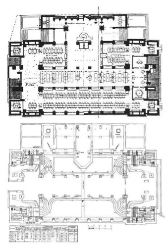 Typical working floor plan (top)  and basement plan showing ductwork (bottom) of the New York stock exchange.