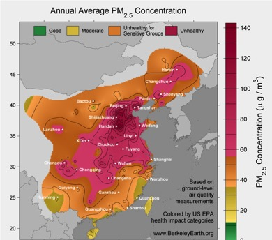 mapping of the annual average pm2.5 concentration in china by Berkeley earth, 2015.