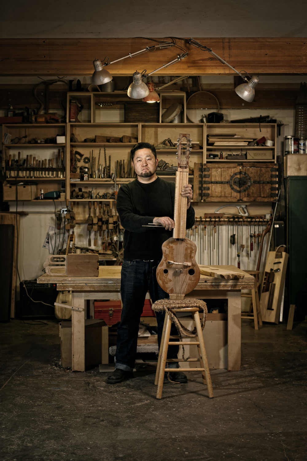 Sung Kim with his homemade instruments
