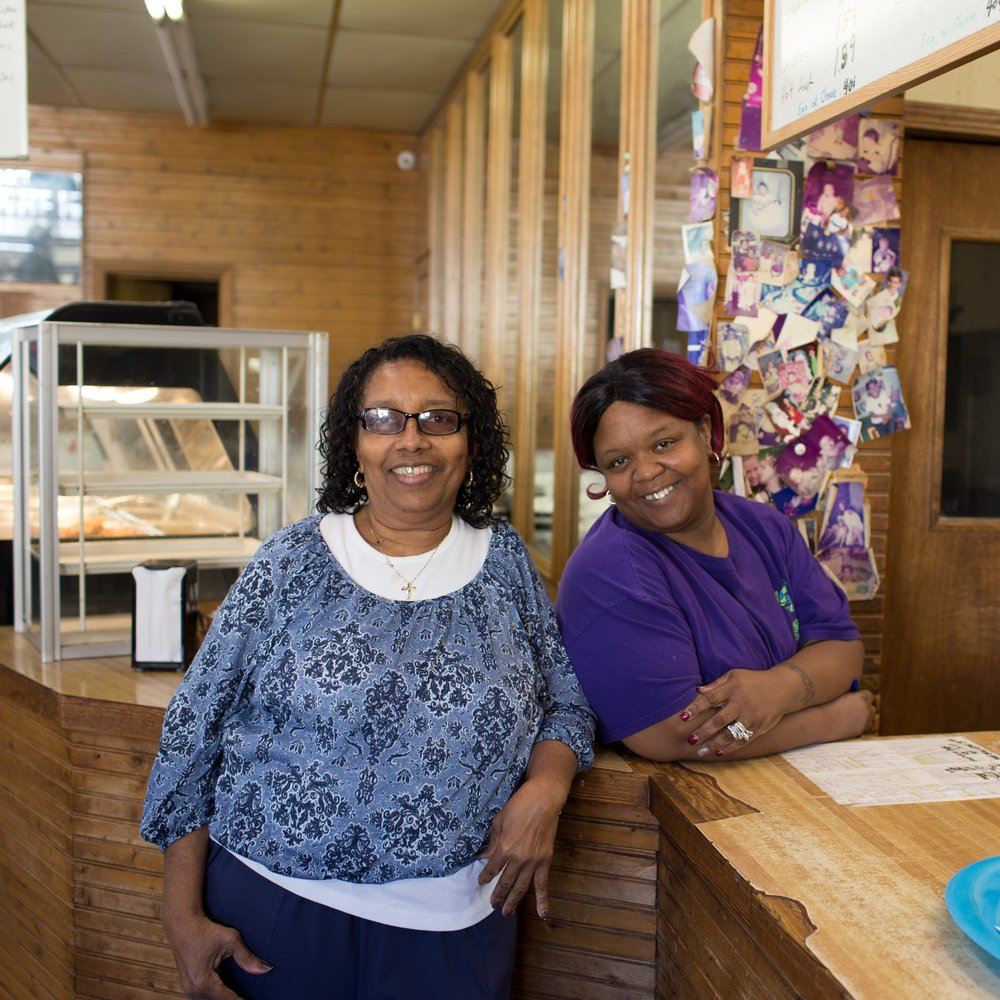 """""""We've got regulars that come here when we get here, at 4:30. They be sitting out there waiting on us."""" - – Angie Harvey (right), cook"""