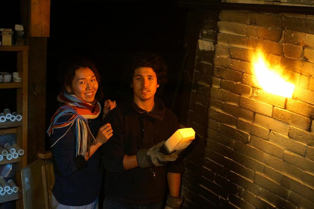 Ayano and I checking the kiln :)