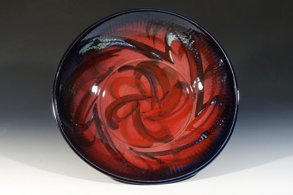 Large copper red plate with oxides by Joseph