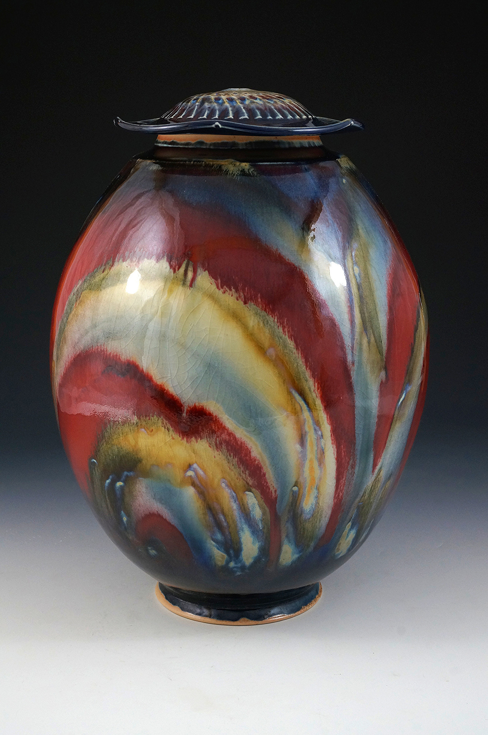 Copper Red Jar with Oxides by Joseph