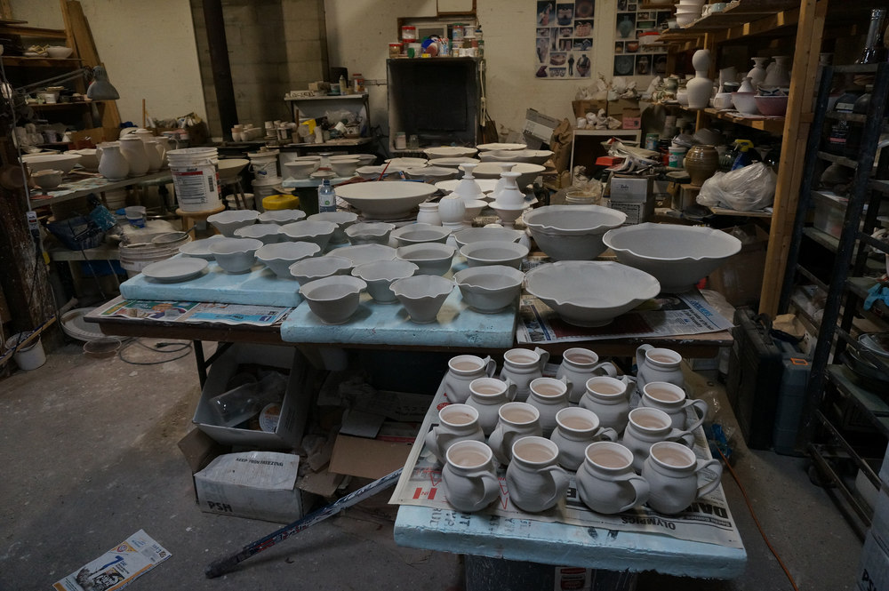 Getting all the work ready to be loaded into the kiln
