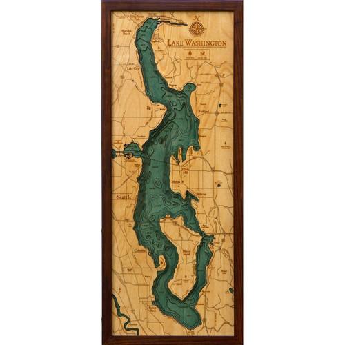 Medina Washington Map.Lake Washington 3d Wood Maps Bella Maps