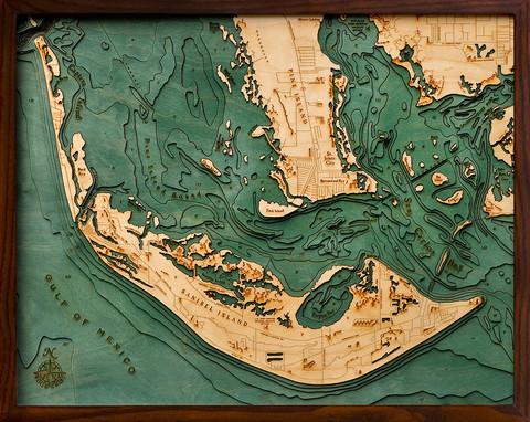 Map Of Sanibel Island Florida.Sanibel Island Fl 3d Wood Maps Bella Maps