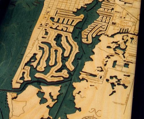 Map Of Naples Florida.Naples Fl 3d Wood Maps Bella Maps