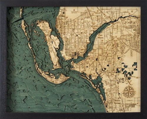 Map Fort Myers Florida.Fort Myers Fl 3d Wood Maps Bella Maps