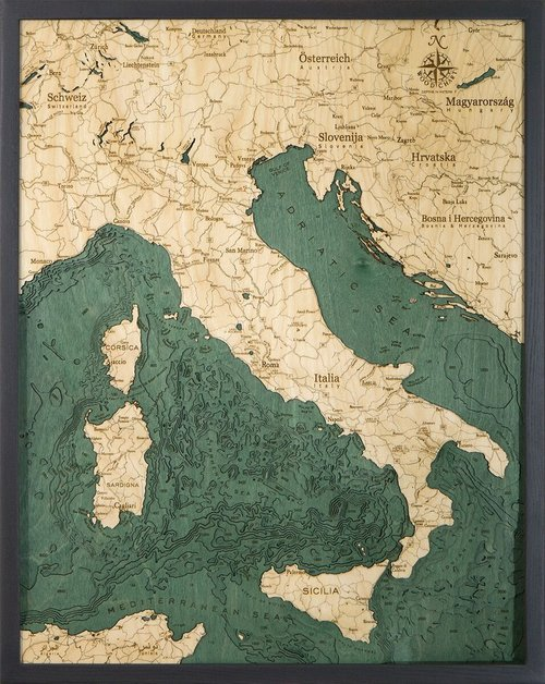 Free Map Of Italy.Italy 3d Wood Maps Bella Maps