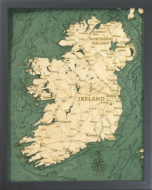 Map Of Ireland 3d.Ireland 3d Wood Maps Bella Maps