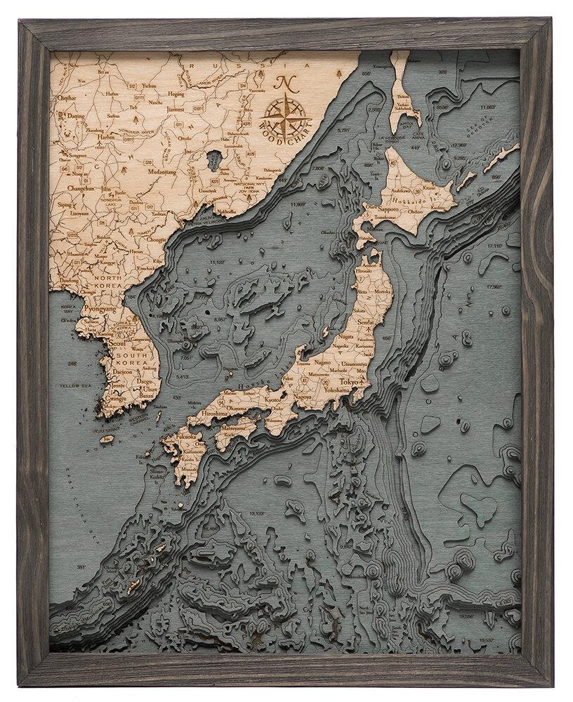 GREY FRAME JAPAN 3D WOOD MAPS BELLA MAPS