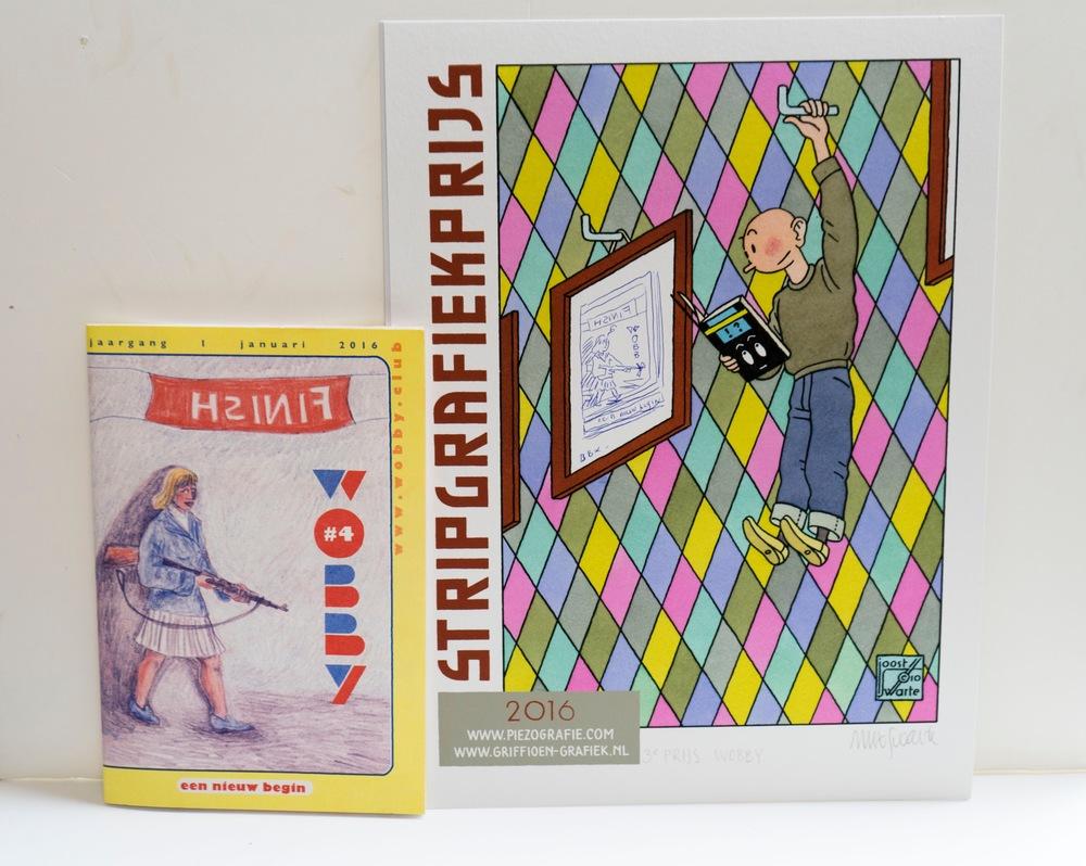 De oorkonde, ontworpen door Joost Swarte, met daarin een originele tekening van Blexbolex n.a.v. de covertekening door Marjolein Schalk.