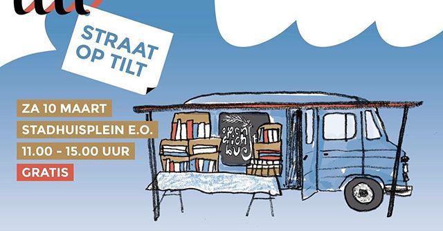 I drew this little van for Straat op Tilt @tiltnu. Graphic design by @kaftwerk.  It's BOEKenweek @boekenweeknl in the Netherlands : everyone has to read books all week long and can't watch Netflix 📖 We're teaming up with Tilt festival next Saturday with a lot of great artists and writers. (I helped choosing them so need I say more🤓) I finished printing Wobby #13 just in time, so more things to read this weekend.  Follow @wobbyclub to see what we have in store during Tilt. Or -even better- join us 👯‍♀️📖👯‍♀️ . . . #tilburg #tilt2018 #tilt18 #boekenweek #boekenweek2018 #opendichtbus #literatuur #festival #wobbyclub #wobbylive