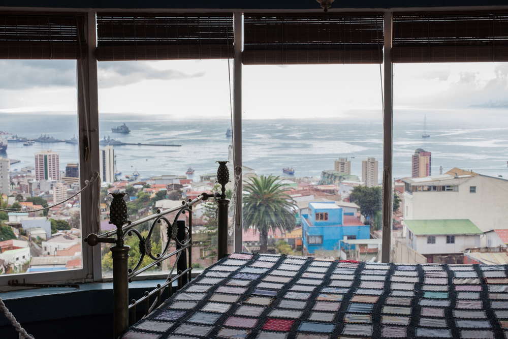 The view from the bedroom of Pablo Neruda- Bellavista's most famous resident artist.