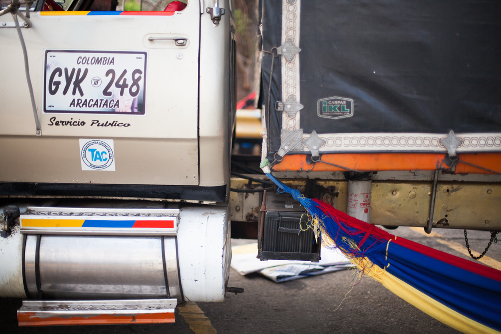 hammock set up under a truck- this was at a truck stop on our way out. not a bad idea
