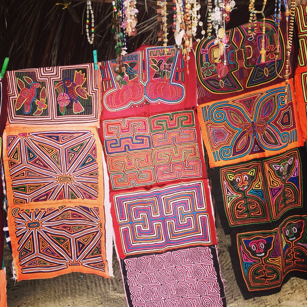 traditional weaving, these are called 'molas', created by the islands' indigenous people.