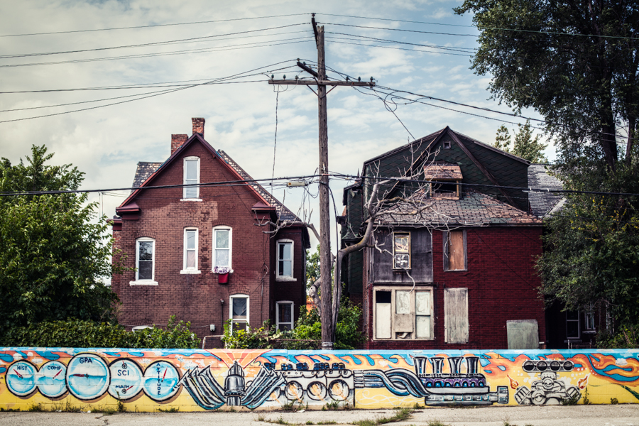 houses in detroit. the one on the left was built in 1897. the guy who owned it is below. his name is jackson.  i had a wicked chat to him and he told me all about the place and who lived there. he'd just received a letter from the council saying it was heritage listed. he was super proud of his place.