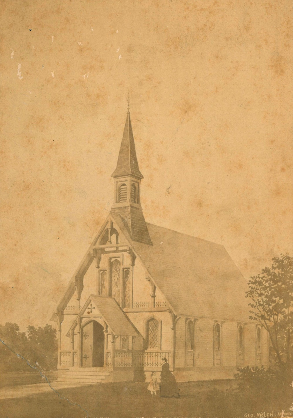 An early postcard view of the church building, dating to the 1870s.