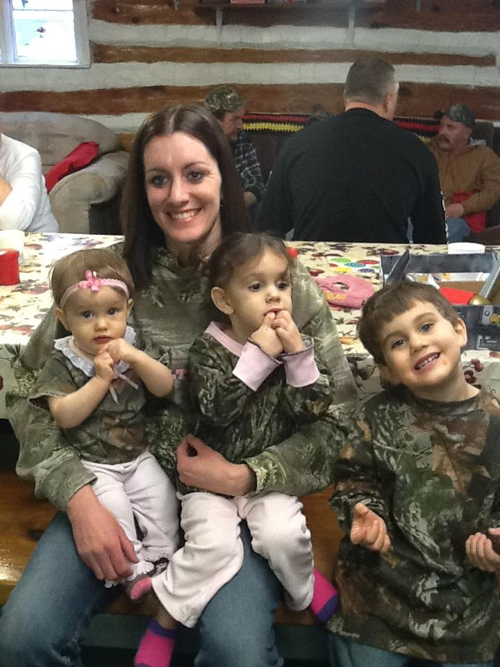 Mom Amanda with her Camo Kids!  Emma, Tessa, and Levi