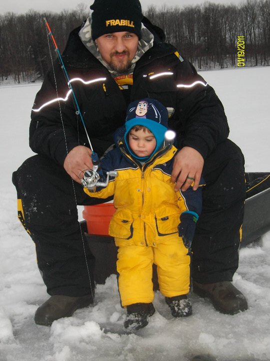 Dad Eric and Levi ice fishing