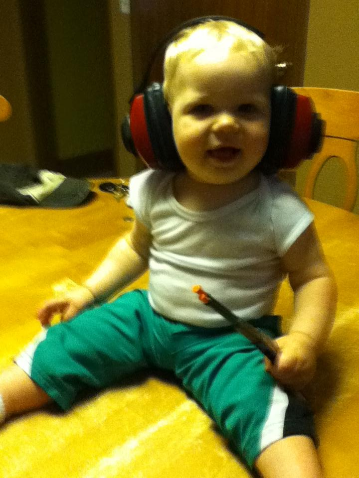 Hunter with his safety earmuffs