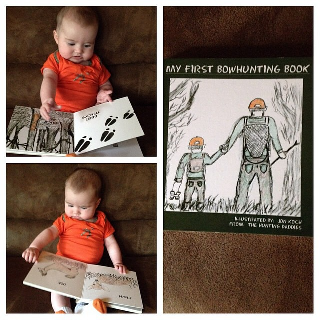 Future OutdoorsWoman Elaina explores the pages of 'My First Bowhunting Book'; Minnestota