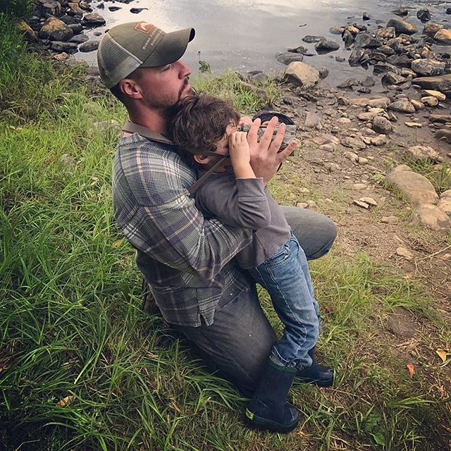 Checking out some deer across the river at camp. Jon and his nephew Jake (age 4yrs) #thehuntingdaddies #futureoutdoorsman #takeakidoutdoors