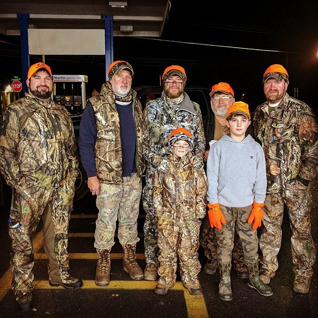Our 5am crew this morning. Are you and your crew out today? #shootstraight and #goodluck from #thehuntingdaddies !  For those of you not out today, don't forget to snag two of our board books for only $12 on our website!  The #littleoutdoorsman library deal will be over after today! #firstdayofbuck #firstdayofrifle #huntingfamily #cybermonday #babysfirstchristmas #newparentgift #shopsmall