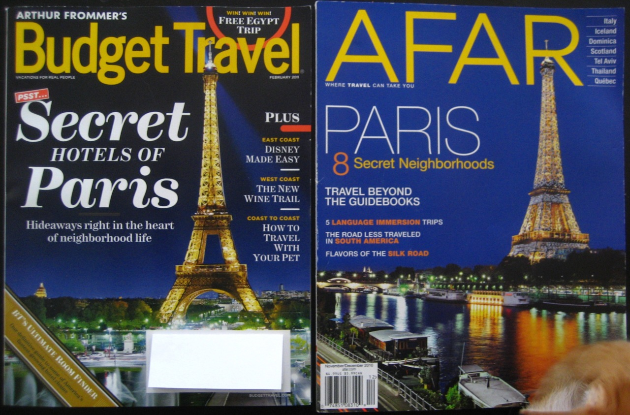 Budget Travel, February 2011 and Afar, November/December 2010.
