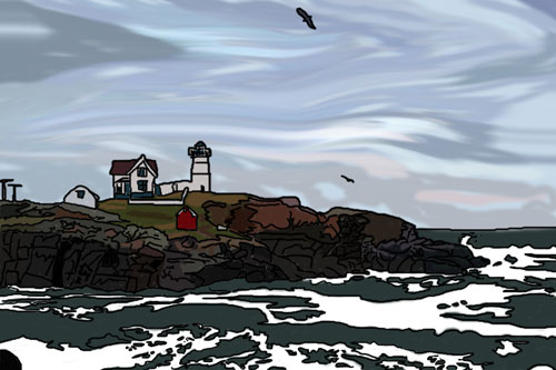 This is #2 in a series of New England illustrated postcards I'm working on. This comes from a really amazing photo we took at Cape Neddick Lighthouse in Maine. I just traced over the photo, first lines and then colors.