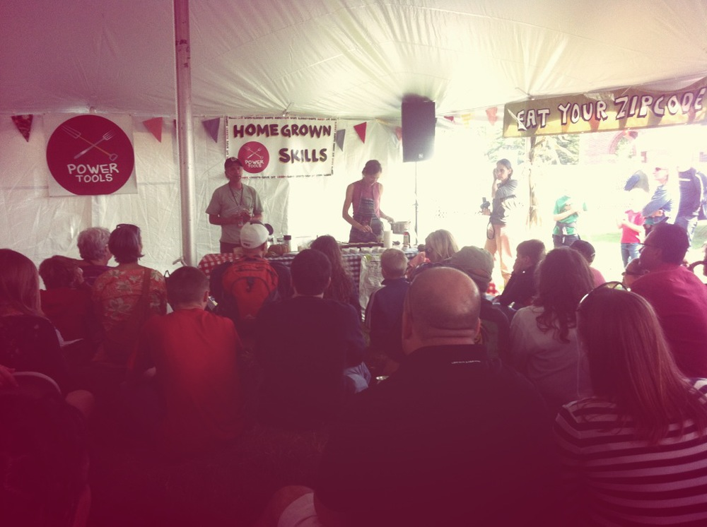Audience members learned the basics of breakfast ingredients in the Homegrown Skills Tent