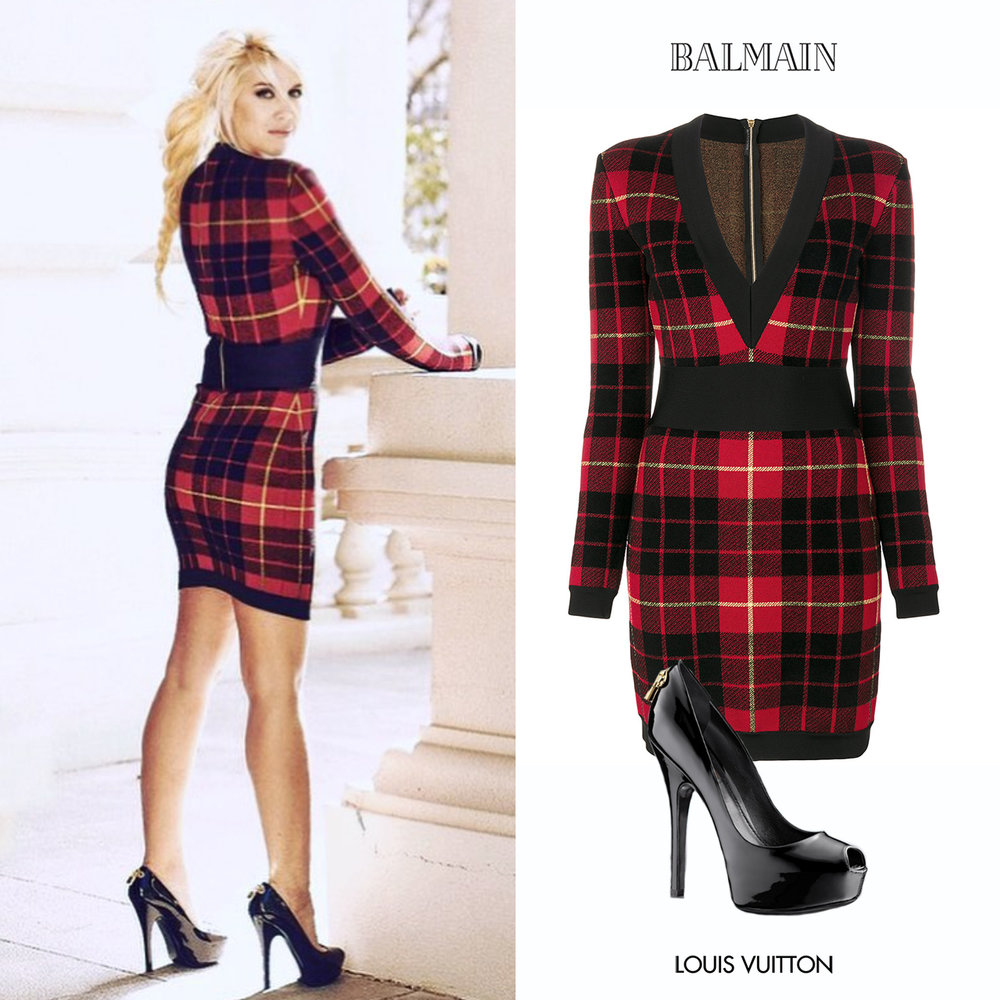 Wanda_Nara_Icardi_2017_Balmain_Vestido_Mangas_Largas_Tartan_Knited_Dress_Long_Sleeve_Zapatos_Louis_Vuitton_Black_Patent_Leather_Zip_Negros.jpg