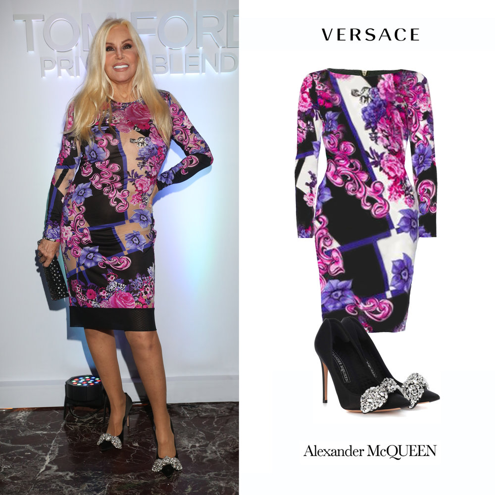 Susana_Gimenez_Tom_Ford_Cena_Beauty_Buenos_Aires_Hyatt_Palacio_Duhau_Vestido_Versace_Purple_Long_Sleeve_Floral_Print_Dress_Versace_Alexander_McQueen_Embellished_Crystal_Bow_Moño_Zapatos_Pumps_Negros.jpg