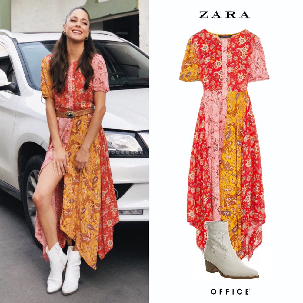 Tini_Stoessel_Haval_2018_Vestido_Zara_Patchwork_Dress_Remiendo_Botas_Off_white_Texanas_Western_Office_Boots.jpg