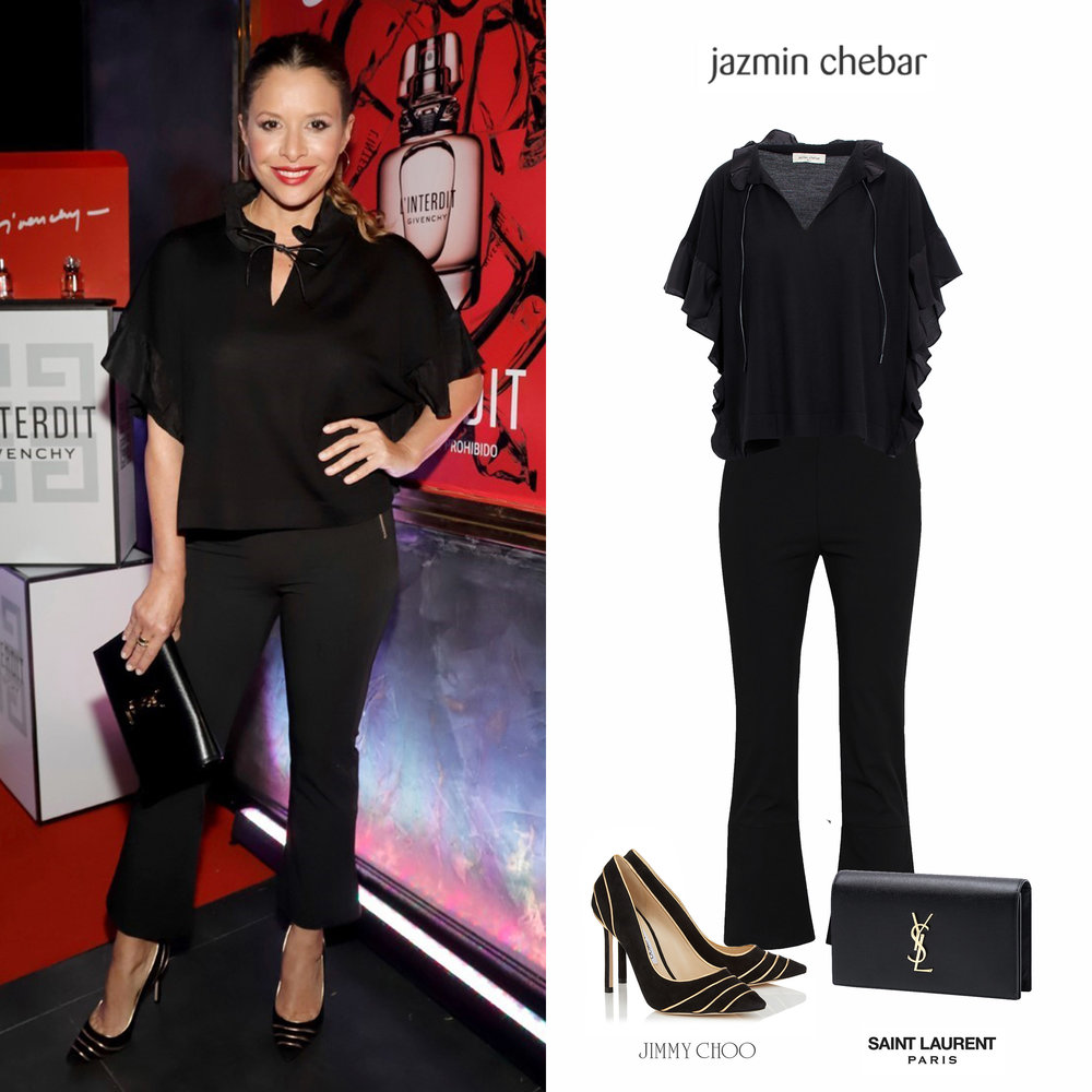 Julieta_Ortega_Givenchy_Pantalon_Negro_Flow_Sweater_Luly_Rose_Jazmin_Chevar_Verano_2018_Zapatos_Dorado_Romy_105_Black_Golden_Pumps_Jimmy_Choo_Saint_Laurent_YSL_Monogram_Clutch.jpg