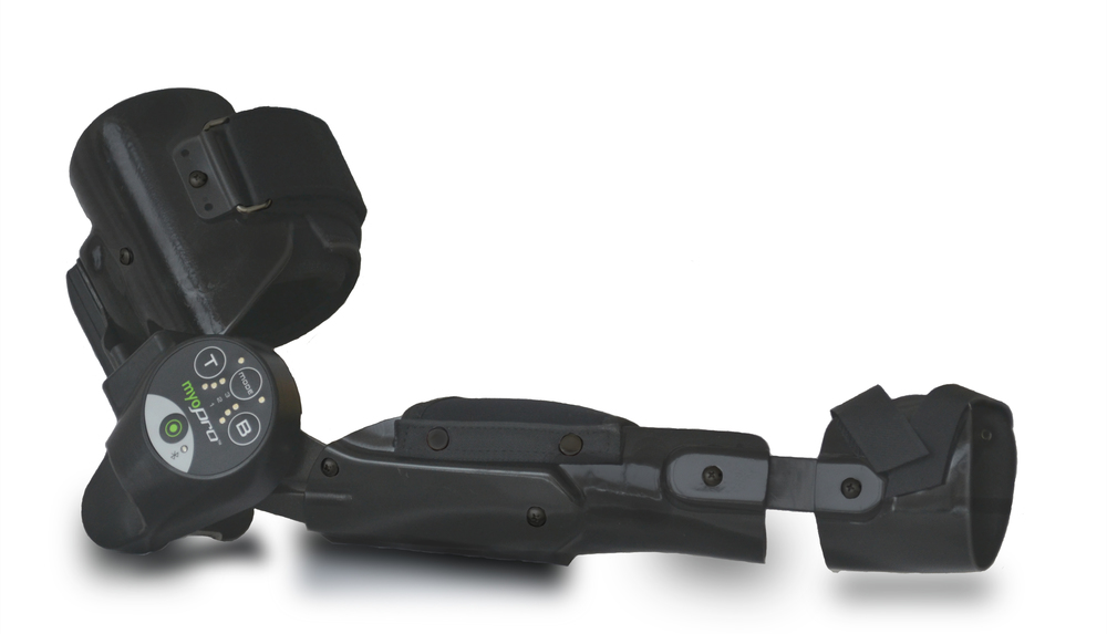 The MyoPro, a powered orthotic brace controlled by a user's intent to move