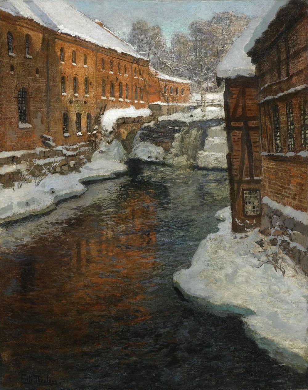 Bentse Brug  til venstre for Akerselva på maleriet «Fra Akerselven» (1897-1901) av  Frits Thaulow  Foto: Sotheby's/privat eie