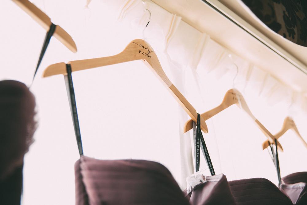 Bridesmaid dresses on custom hangers