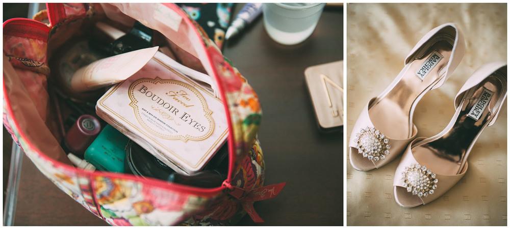 Details - bride makeup and shoes