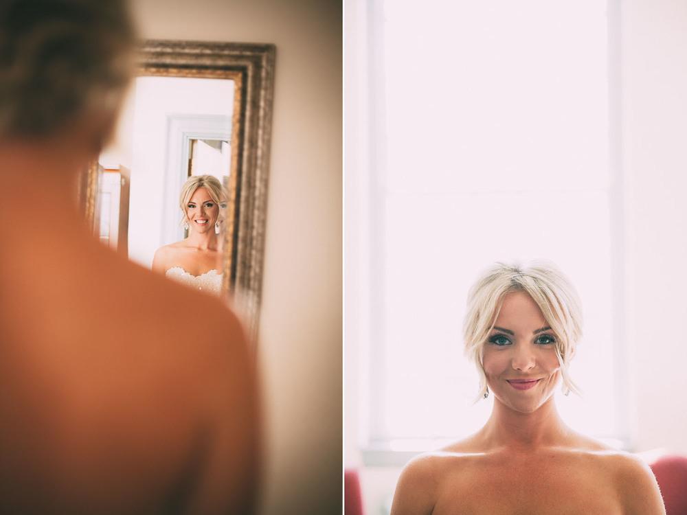 Bride looking in the mirror - bridal portrait