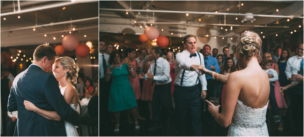 Bride and groom dancing at their wedding reception in Kansas City