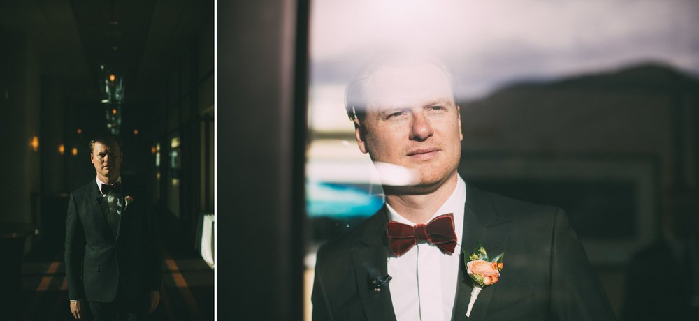 groom portrait high contrast reflection