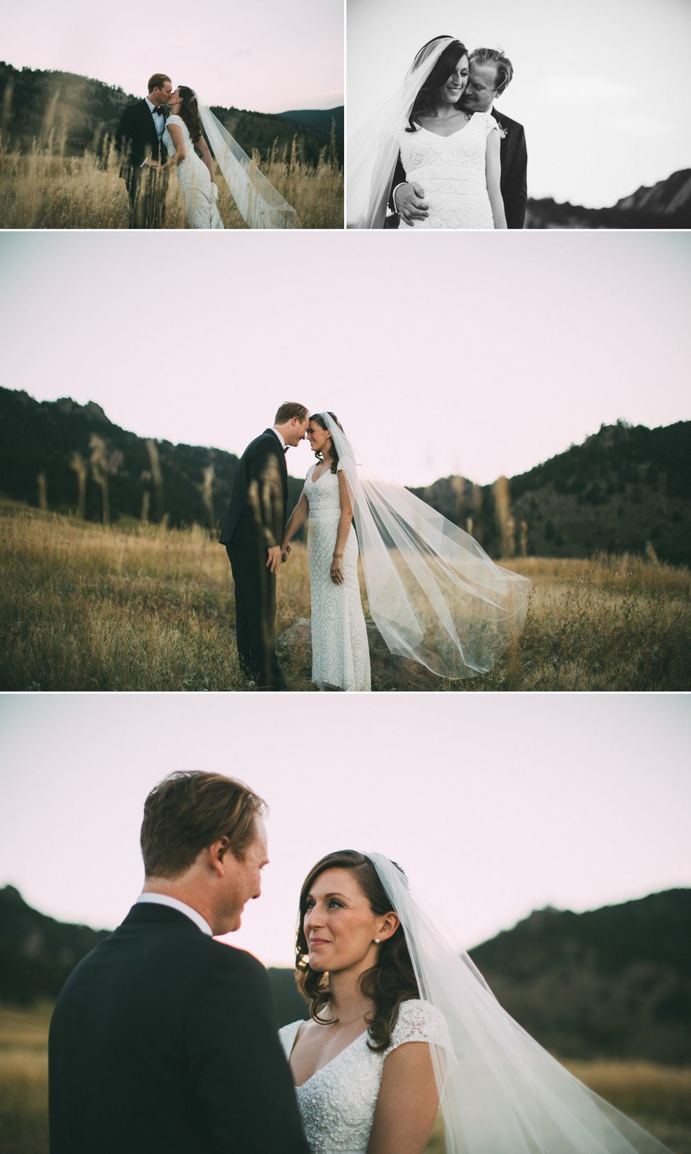 bride and groom in a meadow in the mountains boulder colorado