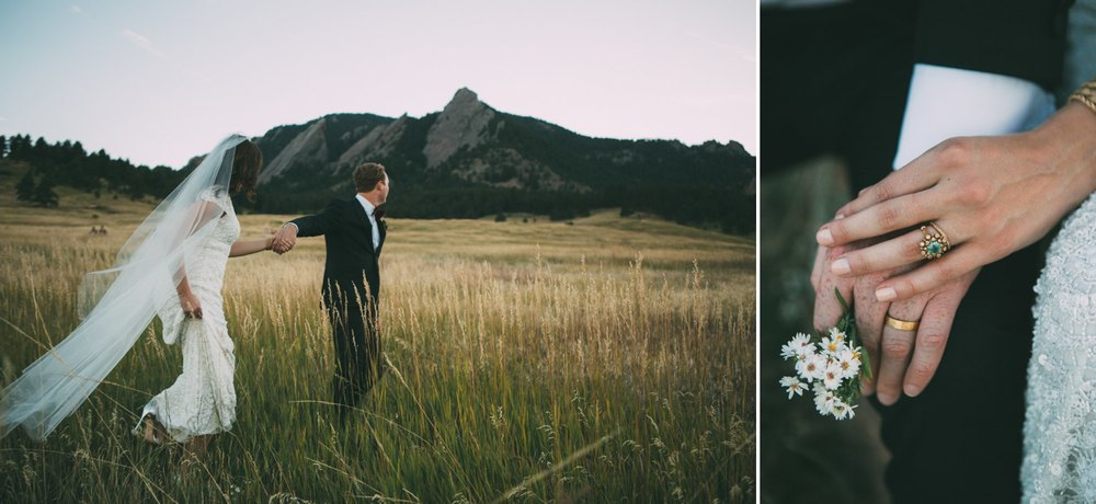 bride and groom in a meadow in the mountains boulder colorado 2