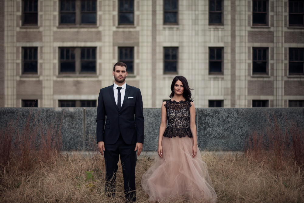 dressed up engagement session couple in downtown urban kansas city